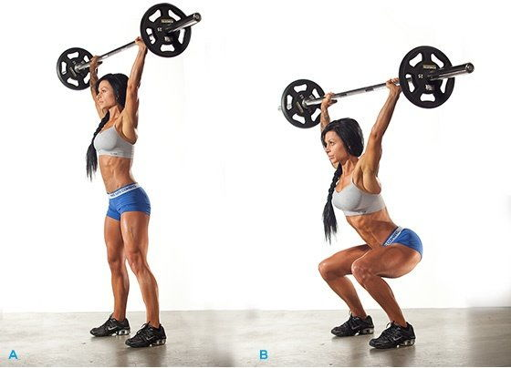 Фитнес упражнение приседания со штангой