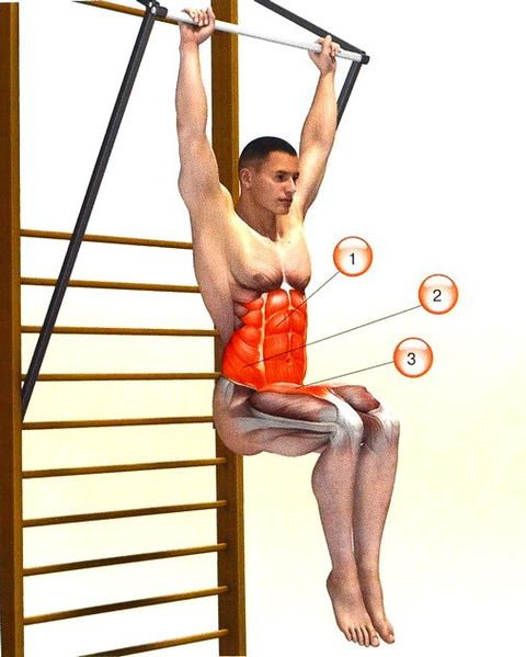 Fitness exercise lifting legs in the hang